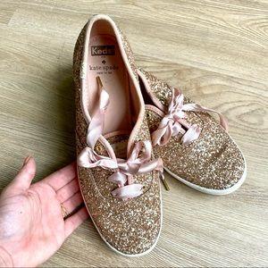 Keds Kate Spade Rosegold/ Pink Glitter Sneakers